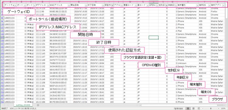 「客層」や「顧客像」の把握に役立つ認証ログデータ一覧