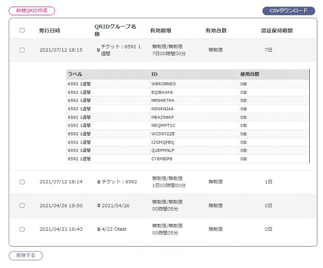 ダッシュボードWi-Fi認証用アクセスID一覧ページ
